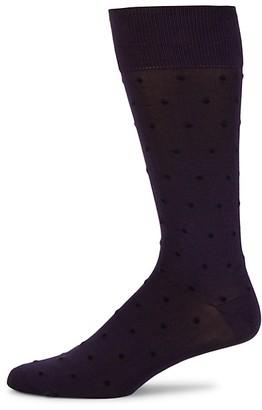 Bruno Magli Polka-Dot Mid Calf Socks