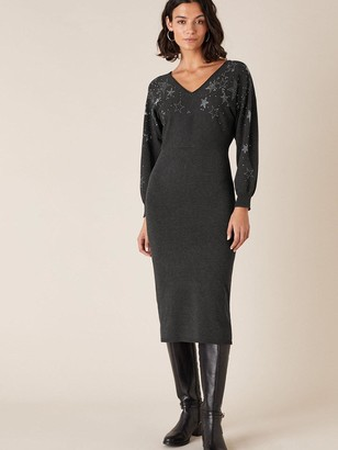 Monsoon Scatter Star Heat Seal Knitted Dress - Charcoal
