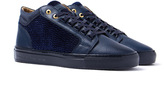Android Homme Propulsion Mid Navy Textured Velour Trainers