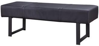 ACME Furniture Acme Baara Bench with Metal Leg in Black PU and Sandy Gray