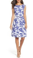 Adrianna Papell Petite Women's Print Fit & Flare Dress