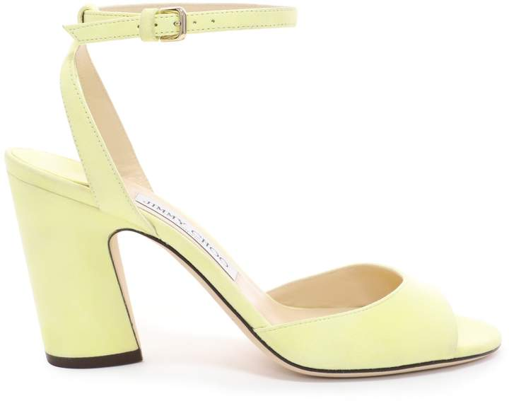Jimmy Choo MIRANDA 85 Pale Yellow Suede Block Heel Sandals