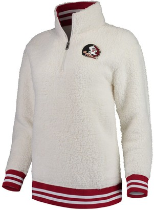 Women's Cream Florida State Seminoles Varsity Banded Sherpa Quarter-Zip Pullover Jacket