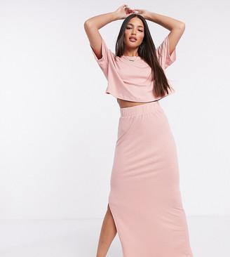 ASOS DESIGN Tall exclusive lounge rib skirt in pink