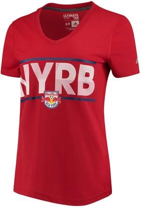 adidas Women's Red New York Red Bulls Dassler Pattern V-Neck T-Shirt