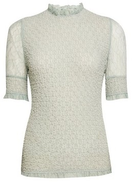 Dorothy Perkins Womens Green Lace Puff Sleeve T