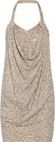 Haute Hippie Sequined modal and cotton-blend halterneck mini dress