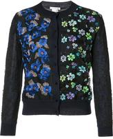 Oscar de la Renta embroidered flowers button up cardigan - women - Merino/Polyethylene/Polyester/Cotton - S