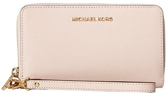 MICHAEL Michael Kors Jet Set Travel Large Flat Multifunction Phone Case (Soft Pink) Cell Phone Case