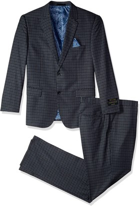 Alexander Julian Colours Men's Big and Tall Single Breasted Modern Fit Check Suit