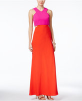 Jill Stuart Colorblocked Cutout Gown, In Faded Rose/Tangerine, A Macy's Exclusive Color