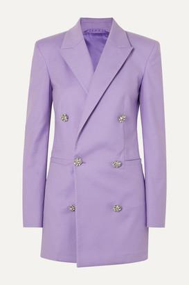 ATTICO The Crystal-embellished Cotton-twill Mini Dress - Lilac