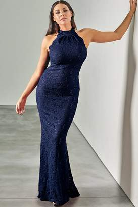 Jessica Wright Sistaglam loves Redy navy high neck halter neck maxi dress in sequin lace