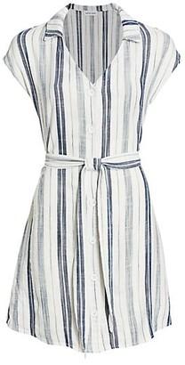 Bella Dahl Stripe Cap-Sleeve Tie-Waist Shirtdress