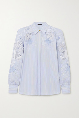 Versace Embroidered Appliqued Striped Cotton-poplin Blouse - Blue