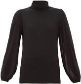 Ganni Polka Dot-flocked Stretch-mesh Top - Womens - Black