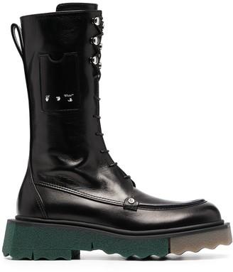 Off-White Sponge Combat lace-up boots