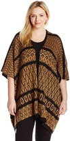NY Collection Women's Plus-Size Elbow Sleeve Jacquard Poncho Like Pullover with Hook and Eye