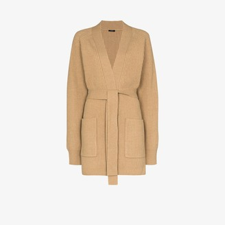 Joseph Belted Ribbed Knit Cardigan