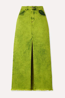 Marques Almeida Marques' Almeida - Frayed Acid-wash Denim Maxi Skirt - Sage green