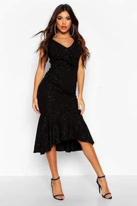 boohoo Twist Strappy Fishtail Midaxi Dress