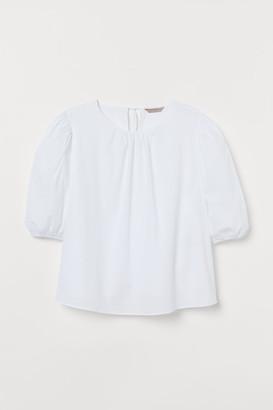 H&M H&M+ Puff-sleeve Cotton Blouse - White