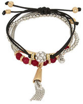 Kenneth Cole New York Semi-Precious Berry Faceted Bead and Tassel Bracelet in a Gift Box- Set of 3