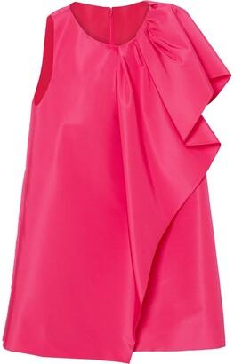 Carolina Herrera Ruffle Silk Shift Dress