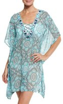 Letarte Lace-Up Sheer Printed Coverup Tunic