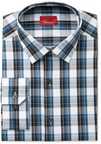 Alfani Slim Fit + Stretch Men's Dark Teal Plaid Dress Shirt, Only at Macy's