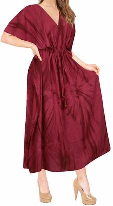 LA LEELA Boho Women Rayon Tie Dye Kaftan Tunic Kimono Free Size Long Maxi Party Dress for Loungewear Nightwear Beach Everyday Cover UP Top Blood Red_J783