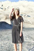 Shabby Apple Esme Velvet Wrap Dress Gray
