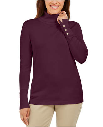 JM Collection Stud-Sleeve Pullover Turtleneck Sweater