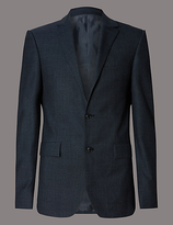 Autograph Blue Textured Tailored Fit Wool Jacket