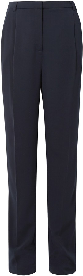 Sally LaPointe Pleated Stretch-crepe Straight-leg Pants
