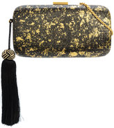 Kayu metallic effect tassel clutch bag