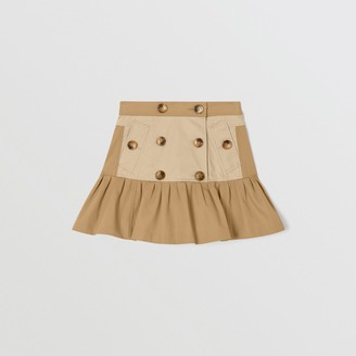 Burberry Gathered Cotton Twill Trench Skirt