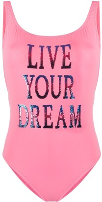 Alberta Ferretti Sequin Slogan Swimsuit
