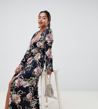 Asos DESIGN Petite satin wrap maxi dress in navy floral print