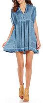 Free People Rowan V-Neck Short Sleeve Swing Mini Dress