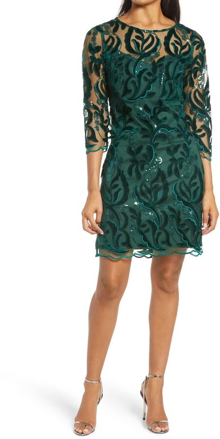 Donna Ricco Womens Crepe Feather-Hem Cocktail Sheath Dress BHFO 7505