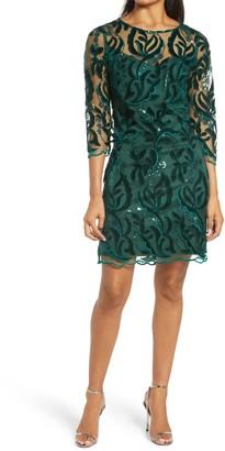 Donna Ricco Sequin Velvet Sheath Dress