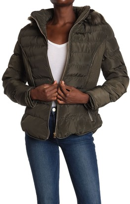 Andrew Marc Faux Fur Lined Hood Zip Front Puffer Jacket