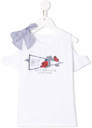 Lapin House Printed Cold-Shoulder Top