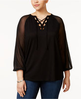 INC International Concepts Plus Size Illusion Lace-Up Top, Only at Macy's