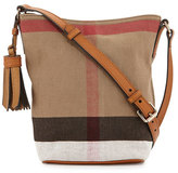 Burberry Asby Canvas Check Crossbody Bag, Saddle Brown