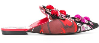 Emilio Pucci Printed Embellished Slippers