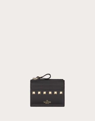 Valentino Rockstud Calfskin Cardholder With Zipper Women Black 100% Pelle Di Vitello - Bos Taurus OneSize