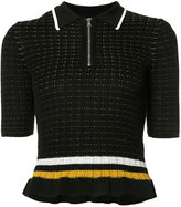 3.1 Phillip Lim short sleeve zip collar top - women - Cotton/Spandex/Elastane - S