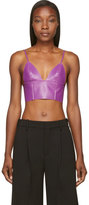Alexander Wang Purple Lether Raw-Edged Triangle Bralette